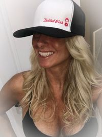 """THIGHBRUSH® """"Tickled Pink"""" - Trucker Snapback Hat - White and Black with Pink"""