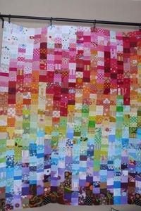 Volume scrap quilt flimsy, from Scrap Republic by Emily Cier. 1. I love the way the colors cascade through this quilt. I followed the pattern exactly, because t