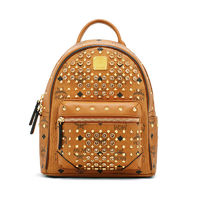 MCM Mini Diamond Visetos Backpack In Brown