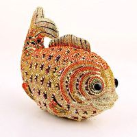 Women Evening Bag/ Clutch Handbag Orange Crystal Fish Purse