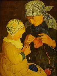 A knitting lesson - I love everything about this one: the colors, expressions... Unfortunately: unknown artist, unknown date and title.