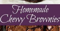 These Homemade Chewy Brownies are thick, chewy, fudgy and made completely from scratch. You'll never need a box mix again!!