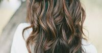 Dark brown base with heavy caramel highlights on top...I want this color for the fall and winter! After baby is born of course!