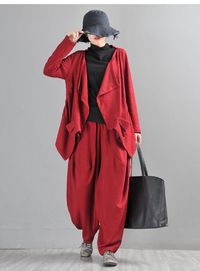Harem Pants, Linen Yoga Pants, Drop Crotch, Wide Leg and High Waist, Brick red cotton jacquard pants, harem pants women