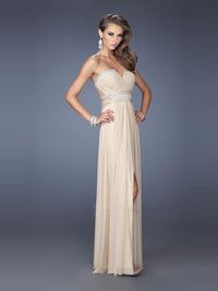 High Slit Champagne Sweetheart Floor Length Chiffon A Line Evening Dress