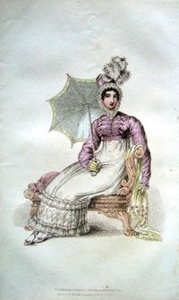 Belle Assemblee 1816. Regency fashion plate. Pink Spencer