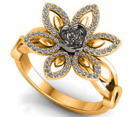 2 tone 18K Flower Ring Lotus Ring Diamond Leaves Ring Celtic Ring Open Flower Ring $1630.00