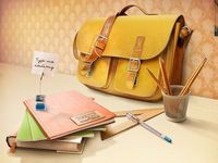 Elaborate illustration of a school bag and its contents for the web-site.