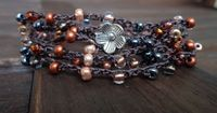 Crochet Wrap Bracelet Necklace Copper Metallic Beads & Brown Cord with Pewter Flower Button Seed Beads Shabby Boho Style Chic Fall on Wanelo