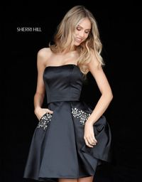 51390 Strapless Beaded Pockets Straight Neck Short Satin Dress For Homecoming by Sherri Hill Black