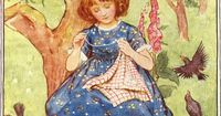 """A fair little girl sat under a tree, Sewing as long as her eyes could see."" M D Spooner illustration by Lord Houghton"