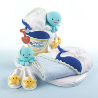 """Sea what Baby Aspen has fished from our ocean of imaginative bathtime ideas! This bucket has everything essential for baby's """"clean"""" routine--just add soap and water! You can be sure our blue whale, yellow starfish and aqua octopus will fe..."""