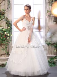 Appliques Spaghetti Strap A Line Chapel Train Tulle Ivory Wedding Dress