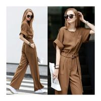 Office Wear Oversized Elegant Scoop Neck High Waisted Tie Casual Jumpsuit Wide Leg Pant Long Trouser - Bonny YZOZO Boutique Store