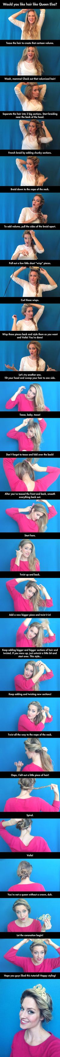 How to style your hair like Queen Elsa from Disney's Frozen - grow my hair out a few more months