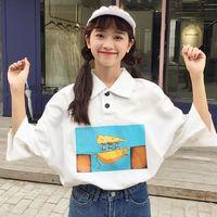 Kawaii Women T-shirt Turn-down Collar Cartoon Tee Tops 2018 Cute Ladies Fashion T shirt Harajuku Printed Loose Casual Ladise Tee $23.38