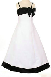 Spaghetti Satin A Line Bow Elegant Inexpensive Girls Formal Dresses