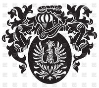 Phoenix on coat of arms - Medieval heraldry vector image