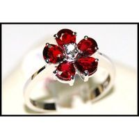 Flower Ruby Ring and Diamond Unique 18K White Gold [RF0001]