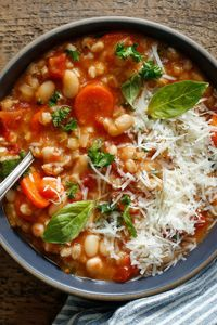 Simple yet amazing This healthy soup, a kind of minestrone with farro, is ubiquitous in Lucca, a city in Tuscany The farro is traditional, but you could use spe