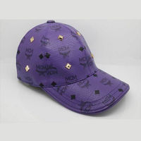 MCM Gold Visetos Studs Cap In Purple