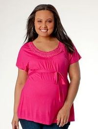 Plus Size Short Sleeve Scoop Neck Babydoll Maternity T Shirt