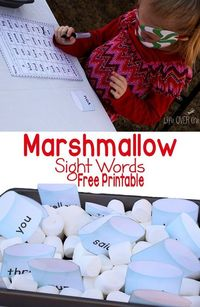 This marshmallow sight word free printable is fantastic paired up with a marshmallow sensory bin and a good cup of hot chocolate.