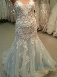 Stunning dusty blue ivory lace mermaid wedding dress