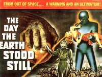 The Day the Earth Stood Still. I like the sexy woman who is not in the movie. Gotta get those 1950's men into the theater somehow!