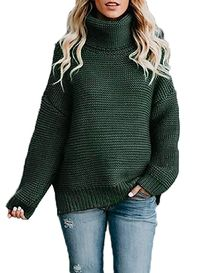 Women's Turtleneck Sweater Long Sleeve Chunky Knit Pullover $54.00