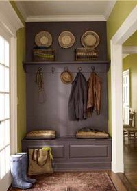 For the laundry room/mud room? Benjamin Moore Vintage Wine and Wasabi not the color but the idea here with a bench and a shelf