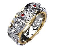 Celtic Ruby and Diamond Floral Band Red Stones Wedding Band Silver Edwardian Ring $368.70