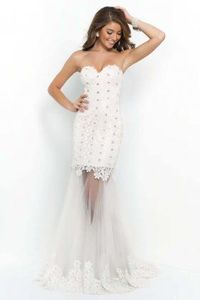 Off White floral lace strapless evening dresses By Blush 9901