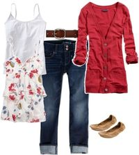 A fashion look from June 2012 featuring red cardigan, cami tank and flare jeans. Browse and shop related looks.