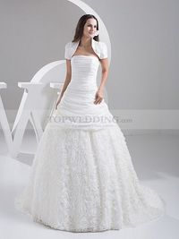 PLEATED STRAPLESS WEDDING GOWN WITH ROSETTE SKIRT AND BOLERO