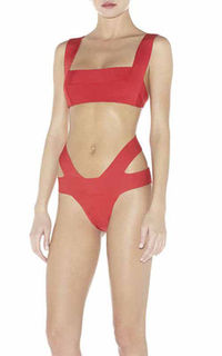 2014 Square-Neck Lucie Bandage Two-Piece Red Swimwear Herve Leger