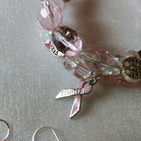 Breast Cancer Awareness Ribbon Memory Wire Wrap Bracelet Earrings Set Tree of Life Fighter Ribbon Charm Rose Quartz Gemstones Crystals Glass $25.00