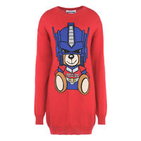 Moschino Transformers Bear Long Sleeves Minidress Red
