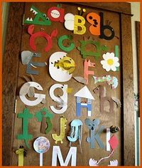 "Alphabet art - How cute are these? They're all the letters from Totally Tots' ""Now I Know My ABC's""!"