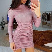 High Neck Ruched Mesh Bodycon Mini Dress-Pink at www.fashionsqueen.com