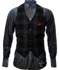 Dsquared Denim Waistcoat Shirt Dsquared Denim Waistcoat Shirt features a vintaged denim shirt with a tartan print waistcoat layer this stylish garment is a fashion statement worn with jeans or trousers. The denim shirt has rip deta http://www.comparestore...