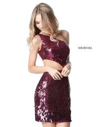 Asymmetrical Neck Sherri Hill 51497 Sequined Pattern Magenta Unique Homecoming Dress