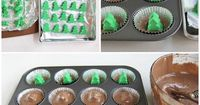 Cut into a festively decorated Triple Chocolate Cupcake to reveal a Christmas tree cheesecake.
