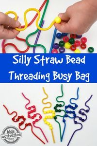 This Silly Straw Bead Threading Busy Bag is sure to keep preschoolers busy.