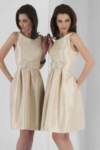 Charming A-line Bateau Straps Ruching Short/Mini Taffeta Bridesmaid Dresses - Elegant Evening Dresses|Charming Bridal Gowns 2016|Demure Prom Dresses