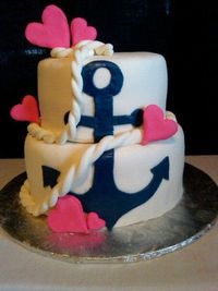 birthday cakeee!! mint colored base with the anchor in a black and the hearts into red flowers :) perfect!