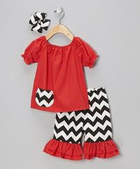 Take a look at this Black Zigzag Ruffle Pants Set - Infant, Toddler & Girls on zulily today!