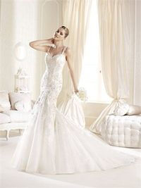 Romantic mermaid sweetheart sweep train wedding dresses