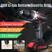 36V Cordless Power Drills Dual Speed Electric Drill W/ 1 or 2 Li-ion Battery