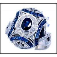 Oval Blue Sapphire Diamond Accents 18K White Gold Antique Ring Style [RA0005]
